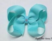 Medium Aqua Boutique Bow - 3 inch aqua blue bow - baby, toddler, girls - 3 inches - solid color - no slip bows - international shipping