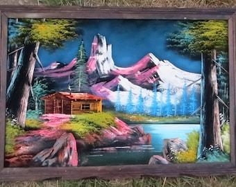 Vintage  Black Velvet Painting 1970's, Cabin, Lake & Mountains, Big Colorful Landscape, Framed, Rustic Woodland Decor 27-1/2 x 39-1/2 Inches