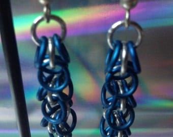 Blue and Silver Chain maille Earrings