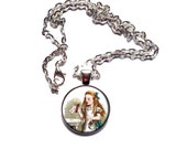 Alice in Wonderland Interchangeable Necklace Set with Five Magnet Charms - Alice, The White Rabbit, The Caterpillar, The Cheshire Cat
