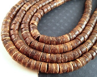 Natural Coconut Shell Heishi Beads, 5mm, FULL Strand, Rustic Brown Heishi, Natural Spacer, Brown Coconut Shell Beads WD04