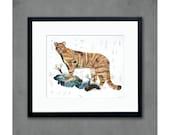 Mountain Lion on Rocks Art Print