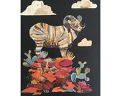 Big Horn Sheep Paper Collage Art