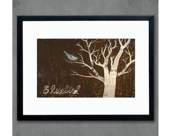 Bluebird Bird in Tree Art Print on Paper
