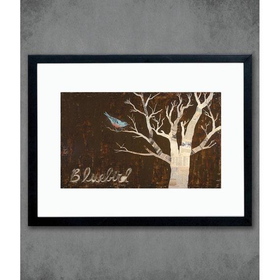 Bluebird Bird in Tree Art Print on Paper