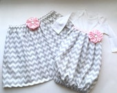 BOUTIQUE sister set... Baby gown and skirt in Grey chevron.. Pink accents.