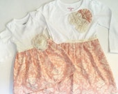 BOUTIQUE ..Sister outfits----Shabby chic rose damask with baby DRESS and big sister DRESS