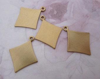 8 pcs. raw brass diamond charms 20x18mm - f4851