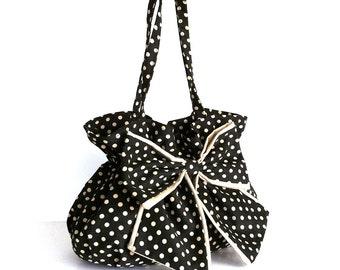 Brown bow bag , Polka dot purse , Bow handbag , Everyday handmade fashion bag  , Top handle purse , Fabric bag , Coffee and cream purse