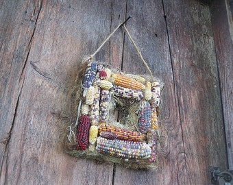INDIAN CORN Harvest SQuARE  natural CoRN cob WReATH   for autumn decoration  Smaller size