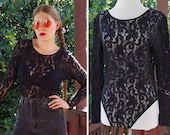 BAD Girl 1980's 90's Vintage Sexy Sheer Black Lace Body Suit with Long Sleeves + Snap Crotch // by Cinema // size Medium Large
