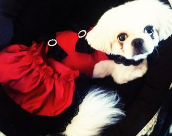 Dog Clothes Dress Red Fancy dog dress holiday puppy clothes pet stuff LhasaApso Chihuahua ShihTzu Maltese Yorkie