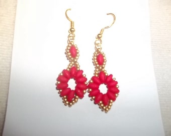 Red Super Duo Earrings # 1543