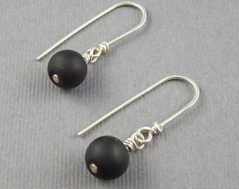 Black Matte Onyx  Dangle Earrings