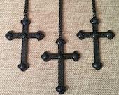 Black Cross Necklace / Long Black Cross Pendant / Matte Black Jewelry /  Halloween Jewelry / Halloween Necklace / Cross Necklace