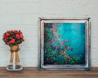 Colorful Nature Photography, Autumn Photo, Fall Foliage Print, Blue Decor, Colorful Nature Decor, Apartment Decor, Dorm Wall Art, Square