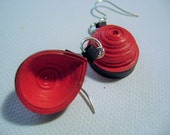 Red Quilled Dome Earrings