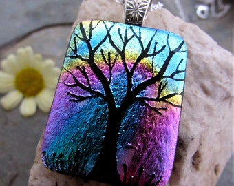 Rainbow Tree Dichroic Pendant - Hand Etched Fused Glass Art Necklace