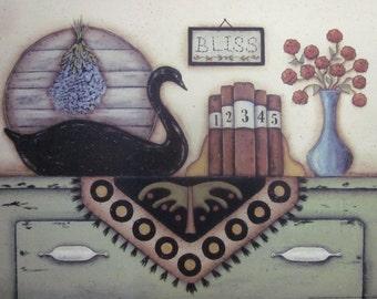 Black Swan Still Life Print. Bliss. Country cottage, primitive folk art by Donna Atkins