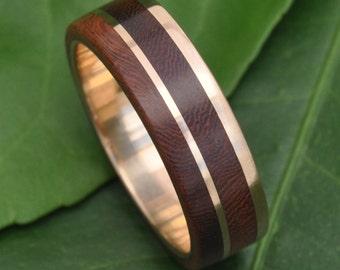 Yellow Gold Un Lado Asi Wood Ring  - ecofriendly 14k recycled gold wood wedding band, wooden wedding ring, wood ring, wood wedding band