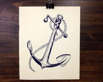An Anchor For My Soul - Letterpress Linoleum print