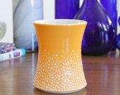 Orange Handleless Mug with Dots - SHOP SALE - Pottery Pebble Cup in Orange