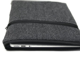 iPad Pro Case, iPad Air 2 Sleeve iPad mini Cover Tablet iPad Case - Gray Herringbone Wool