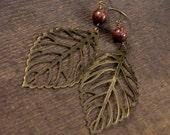 Antique brass leaves, brown jasper stone handmade earrings-last pair