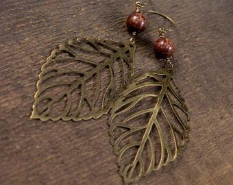Brass leaf earrings, antique brass leaves, jasper stone long dangle handmade earrings
