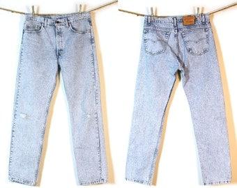 Levi's 501 Jeans / Vintage 1980s Levi's Distressed Stonewash Denim / 34 x 31.5