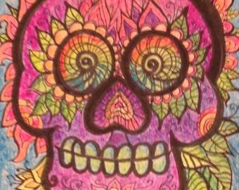UV Reactive Black Light 6x6 Mixed Media Calavera Illustration Day of the Dead Art by Candace Byington