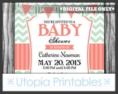 Mint Green Coral Baby Shower Invitation Chevron Stripes Cute Gender Neutral Modern Contemporary Theme Digital Printable Customized 5x7 White