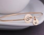 Om Bracelet, Yoga Jewelry, Hand Stamped Om Jewelry,  Bangle Bracelet, Simple Yoga Jewelry