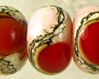 Pink and Red Glass Lampwork Beads Set of 6 with Webbed Organic Details 11x7mm Rose Garden