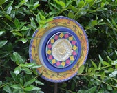 Recycled Plate Flower Garden Decor Purple Pink and Yellow