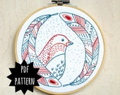 BIRD OF A FEATHER - pdf embroidery pattern, embroidery hoop art, bird wall art, nursery art, bird head and feathers, cozyblue on etsy