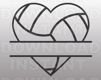 Volleyball Heart Split Monogram SVG File Cutting Template-Clip Art for Commercial & Personal Use-Vector Art file Cricut,Cameo,Sizzix,Vinyl