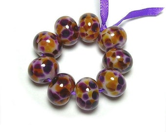 Handmade Lampwork Glass Beads in Violet Purple and Gold Amber