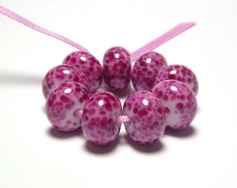 Handmade Lampwork Glass Beads - Fuchsias