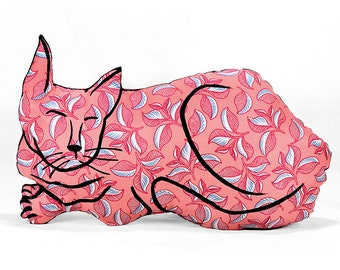 decorative pillow, cat pillow, animal pillow, big relaxed cat shaped peach leaf print fabric
