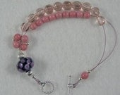 Lampwork Abacus Row Counting Bracelet For Knitting and Crochet - Pink Polka Dot - Item No. 952
