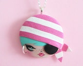 RESERVED for Valerie Pirotte –Pirate Doll Face Necklace