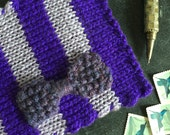 RESERVED Custom Knitted Postcard No. 35 - Purples