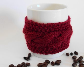 knitted cabled coffee cuff mug cup cozy cover dark red maroon garnet wine burgundy