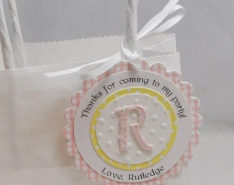 Personalized Gingham Favor Tags- Set of 12- Girl 1st Birthday