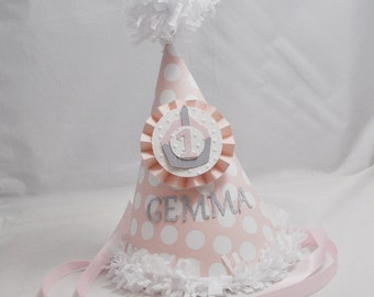 Cupcake 1st Birthday Party Hat- Personalized