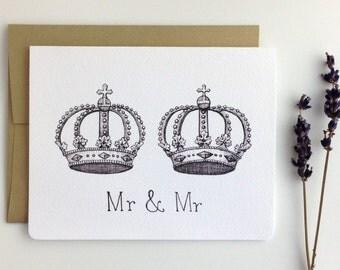 Mr & Mr Royal Crowns Same Sex Wedding Card