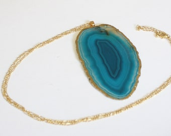 SALE Beautiful Gilded Cerulean and indigo Agate Slice Large Geode Necklace. Geode Jewelry, Statement Piece, 14k Gold Chain,Free Shipping