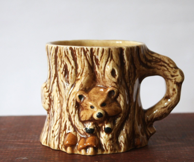 Vintage Ceramic Tree Stump Mug With Hiding Animal And