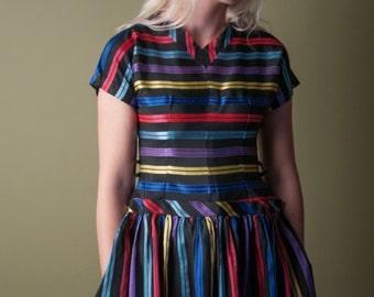 doll and lila taffeta dress / 1950s striped dress / vintage tea dress / xs / 916d